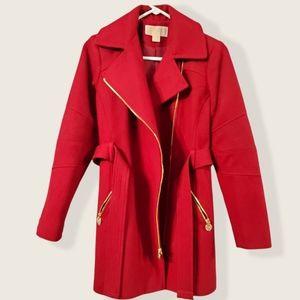 Michael Kors Red Wool Blend Winter Coat